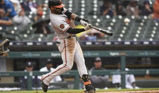 Baltimore Orioles' Jonathan Villar bats against the Detroit Tigers in the sixth inning of a baseball game Sunday, Sept. 15, 2019, in Detroit. (AP Photo/Jose Juarez)