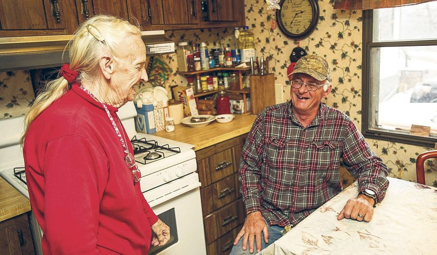 ADVANCE ON THURSDAY, SEPT. 12 FOR USE ANY TIME AFTER 3:01 A.M. SUNDAY SEPT 15 - In this March 4, 2018, photo shows Harriett Noyes and her son, Hyrum, in their kitchen at the Phillips Trailer Park near Aspen, Colo. which has been in their family for more than 50 years. While the existence of five mobile home parks in Colorado's wealthiest county might come as a surprise to some, they are actually an integral part of a affordable housing system, (Anna Stonehouse / The Aspen Times)