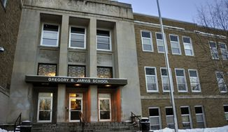 FILE - This Feb. 1, 2010 file photo, shows Gregory B. Jarvis Junior/Senior High School in Mohawk, NY. At the beginning of the 2019-2020 academic year, New York became the first state that empowers schools to petition courts for temporary removal of firearms from people believed to be a danger to themselves or others. (AP Photo/Heather Ainsworth, File)