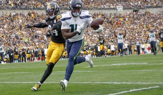 Seattle Seahawks wide receiver D.K. Metcalf (14) makes a catch past Pittsburgh Steelers strong safety Terrell Edmunds (34) for a touchdown in the second half of an NFL football game Sunday, Sept. 15, 2019, in Pittsburgh. The play was reviewed and let stand as a touchdown. (AP Photo/Don Wright)