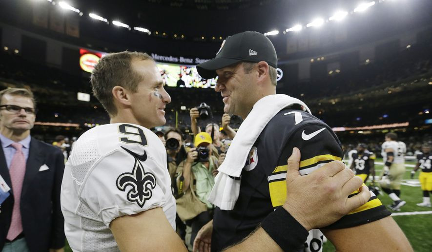Pittsburgh Steelers quarterback Ben Roethlisberger speaks with New Orleans Saints quarterback Drew Brees after the second half of an NFL preseason football game, Friday, Aug. 26, 2016, in New Orleans. The Pittsburgh Steelers won 27-14. (AP Photo/Butch Dill) **FILE**