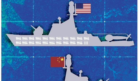 Illustration on comparative strengths of the U.S. and Chinese navies by Alexander Hunter/The Washington Times