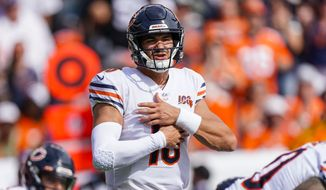Chicago Bears quarterback Mitchell Trubisky signals during an NFL football game between the Denver Broncos and the Chicago Bears, Sunday, Sept. 15, 2019, in Denver. (AP Photo/Jack Dempsey)