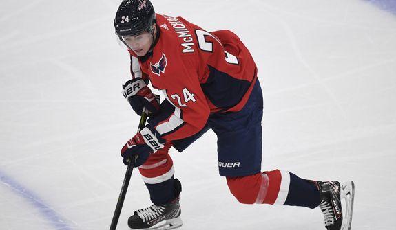 Washington Capitals forward Connor McMichael (24) skates during the third period of an NHL preseason hockey game against the Chicago Blackhawks in Washington, Monday, Sept. 16, 2019. (AP Photo/Susan Walsh) ** FILE **