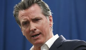 Gov. Gavin Newsom answers a question concerning his announcement that California will spend $20 million on a public awareness campaign about the dangers of vaping nicotine and cannabis products amid a rise in vaping-related illnesses, during a news conference in Sacramento, Calif., Monday, Sept. 16, 2019. (AP Photo/Rich Pedroncelli)