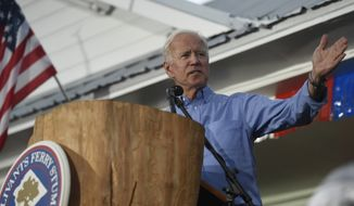 Former Vice President Joe Biden speaks at the Galivants Ferry Stump on Monday, Sept. 16, 2019, in Galivants Ferry, S.C. (AP Photo/Meg Kinnard) ** FILE **