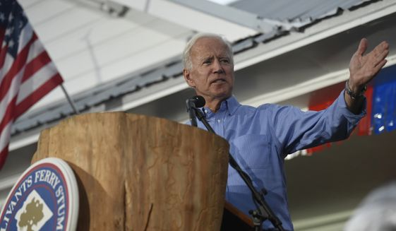 Former Vice President Joe Biden speaks at the Galivants Ferry Stump on Monday, Sept. 16, 2019, in Galivants Ferry, S.C. (AP Photo/Meg Kinnard) ** FILE **