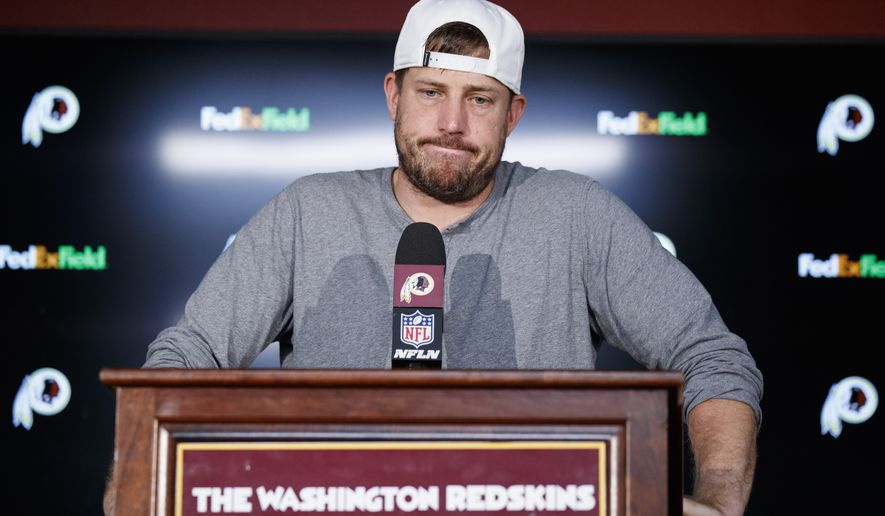 """Washington Redskins quarterback Case Keenum pauses while speaking during a news conference after an NFL football game against the Dallas Cowboys, Sunday, Sept. 15, 2019, in Landover, Md. The Redskins face injury and defensive questions after falling to 0-2 with a loss to the Dallas Cowboys and the Chicago Bears coming to town for """"Monday Night Football."""" (AP Photo/Alex Brandon) ** FILE **"""