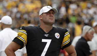 Pittsburgh Steelers quarterback Ben Roethlisberger (7) walks off the field as time runs out in a 28-26 loss to the Seattle Seahawks in an NFL football game in Pittsburgh, Sunday, Sept. 15, 2019. Roethlisberger did not play the second half of the game. (AP Photo/Gene J. Puskar) **FILE**