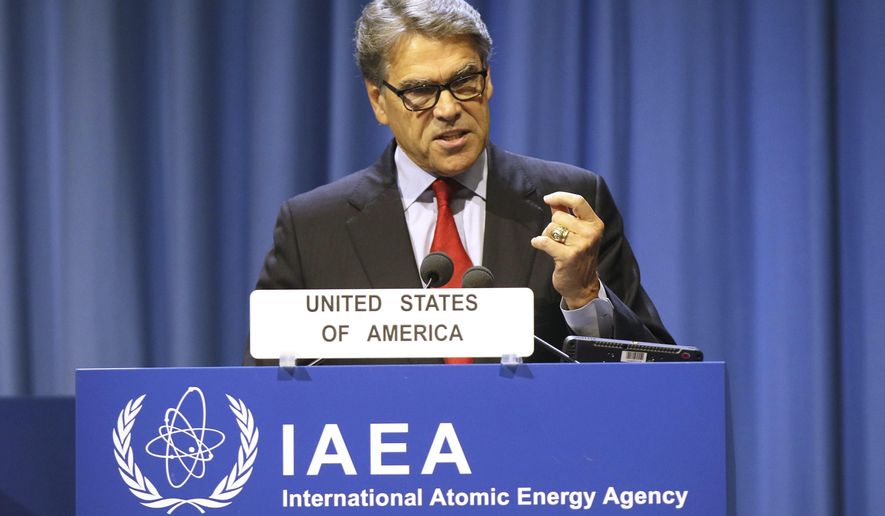U.S. Energy Secretary Rick Perry delivers his speech at opening of the general conference of the International Atomic Energy Agency, IAEA, at the International Center in Vienna, Austria, Monday, Sept. 16, 2019. (AP Photo/Ronald Zak)