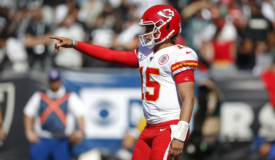 Kansas City Chiefs quarterback Patrick Mahomes calls out a play during the second half of an NFL football game against the Oakland Raiders Sunday, Sept. 15, 2019, in Oakland, Calif. (AP Photo/D. Ross Cameron)