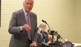 Insurance Commissioner Jim Donelon, a Republican running for reelection on the Oct. 12 ballot, answers questions at a candidate forum on Monday, Sept. 16, 2019, in Baton Rouge, La. Donelon faces opposition in the election from Republican Tim Temple. (AP Photo/Melinda Deslatte)