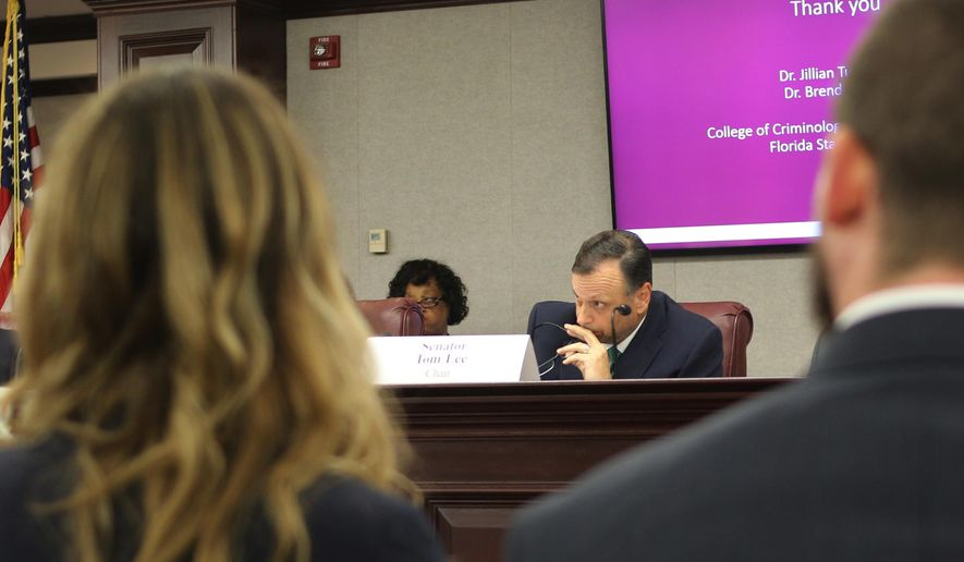 Florida state Sen. Tom Lee presides over the Senate's committee on infrastructure and security in Tallahassee, Fla., Monday, Sept. 16, 2019. The committee is considering new legislation to help address mass violence. (AP Photo/Bobby Caina Calvan)