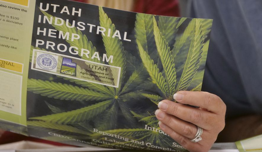 FILE - In this June 5, 2019, file photo, a person holds a program during a public hearing on medical cannabis at the Utah Department of Agriculture and Food, in Salt Lake City. Utah lawmakers are expected to meet Monday night, Sept. 16 to consider changes to the state's medical marijuana law, an issue that has faced fierce criticism from people on both sides of the debate. The proposed changes include scrapping plans for an unusual state-run dispensary system and adopting protections for patients who are concerned they could be prosecuted for drug crimes. (AP Photo/Rick Bowmer, File)