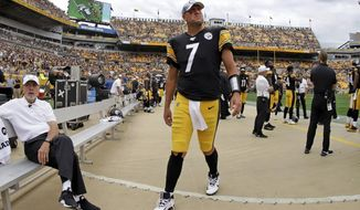Pittsburgh Steelers quarterback Ben Roethlisberger (7) walks off the field as time runs out in a loss to the Seattle Seahawks in an NFL football game in Pittsburgh, Sunday, Sept. 15, 2019. Roethlisberger did not play the second half of the game. (AP Photo/Gene J. Puskar)
