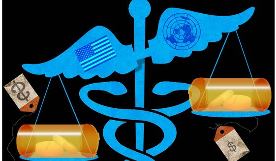 Illustration on pharma price controls by Alexander Hunter/The Washington Times