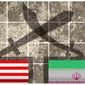Illustration on the conflict with Iran by Alexander Hunter/The Washington Times