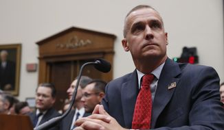 Corey Lewandowski, former campaign manager for President Donald Trump, arrives to testify to the House Judiciary Committee on Tuesday, Sept. 17, 2019, in Washington. (AP Photo/Jacquelyn Martin)