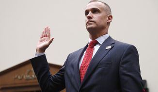 Corey Lewandowski, the former campaign manager for President Donald Trump, isa sworn in to testify to the House Judiciary Committee Tuesday, Sept. 17, 2019, in Washington. (AP Photo/Jacquelyn Martin)