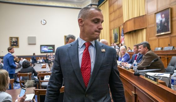 Corey Lewandowski, former campaign manager for President Donald Trump, leaves the House Judiciary Committee room during a break in his testimony, Tuesday, Sept. 17, 2019, on Capitol Hill in Washington. (AP Photo/J. Scott Applewhite) ** FILE **