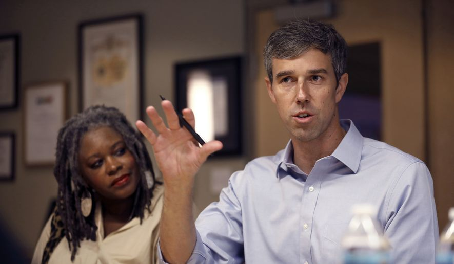 Texas Rep. Beto O'Rourke, who is seeking the Democratic nomination, visits downtown Los Angeles and the Downtown Women's Center on Tuesday, Sept. 17, 2019. He takes part in a discussion with homeless advocates. (Carolyn Cole/Los Angeles Times via AP)