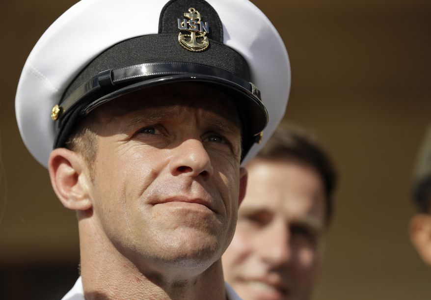 Navy Special Operations Chief Edward Gallagher leaves a military court on Naval Base San Diego. (AP Photo/Gregory Bull, File)