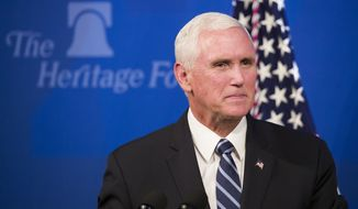 Vice President Mike Pence pauses while speaking about the U.S.-Mexico-Canada trade agreement at the Heritage Foundation, Tuesday, Sept. 17, 2019, in Washington. (AP Photo/Alex Brandon)