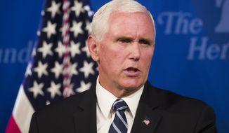 Vice President Mike Pence speaks about the U.S.-Mexico-Canada trade agreement at the Heritage Foundation, Tuesday, Sept. 17, 2019, in Washington. (AP Photo/Alex Brandon)