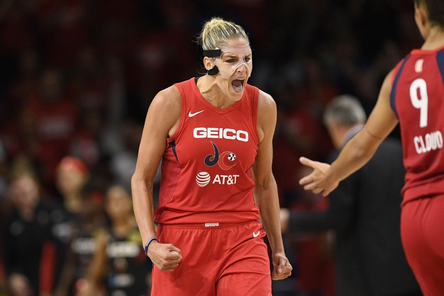 Washington Mystics forward Elena Delle Donne reacts after she made a basket against the Las Vegas Aces during the second half of Game 1 of a WNBA playoff basketball series Tuesday, Sept. 17, 2019, in Washington. The Mystics won 97-95. (AP Photo/Nick Wass)