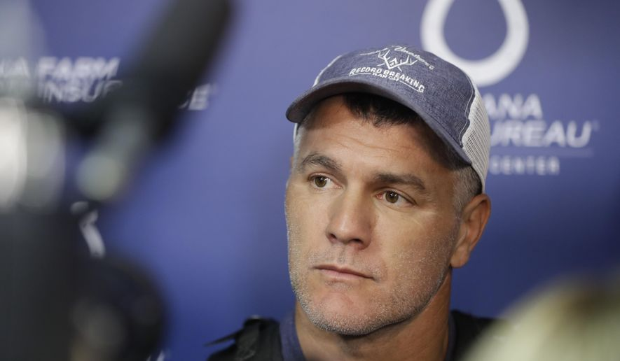 Indianapolis Colts kicker Adam Vinatieri speaks during a news conference at the team's NFL football training facility, Tuesday, Sept. 17, 2019, in Indianapolis. (AP Photo/Darron Cummings)
