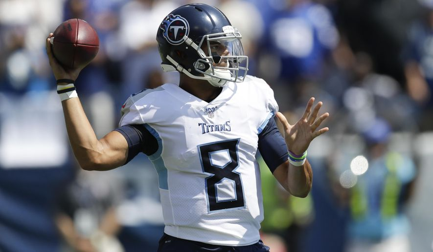 Tennessee Titans quarterback Marcus Mariota passes against the Indianapolis Colts in the first half of an NFL football game Sunday, Sept. 15, 2019, in Nashville, Tenn. (AP Photo/James Kenney)