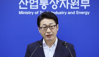 CORRECTS DATE PHOTO TAKEN - Lee Ho-hyeon, a director general for International Trade Policy at the Trade, Industry and Energy Ministry, speaks at the government complex in Sejong, South Korea, Tuesday, Sept. 17, 2019. South Korea has gone through with plans to drop Japan from a list of countries receiving fast-track approvals in trade in a tit-for-tat reaction to a similar move by Tokyo to downgrade Seoul's trade status amid a tense diplomatic dispute. (Jin Sung-chul/Yonhap via AP)