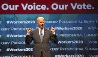 """Democratic presidential candidate former Vice President Joe Biden speaks at the first-ever """"Workers' Presidential Summit"""" at the Convention Center in Philadelphia, Tuesday, Sept. 17, 2019. The Philadelphia Council of the AFL-CIO hosted the event. (Tom Gralish/The Philadelphia Inquirer via AP)"""