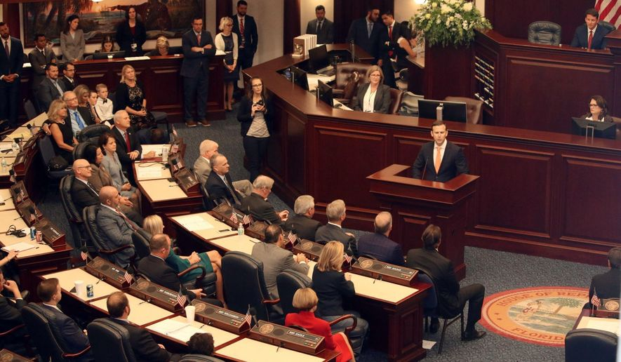 State Rep. Chris Sprowls, 35, addresses the Florida House of Representatives, Tuesday, Sept. 17, 2019, in Tallahassee, Fla., after the Republican was elected to lead the 120-member chamber. (AP Photo/Bobby Caina Calvan)