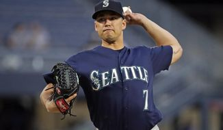 Seattle Mariners starting pitcher Marco Gonzales delivers during the first inning of a baseball game against the Pittsburgh Pirates in Pittsburgh, Tuesday, Sept. 17, 2019. (AP Photo/Gene J. Puskar)