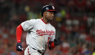 Washington Nationals' Victor Robles heads to first on an RBI single during the sixth inning of a baseball game against the St. Louis Cardinals on Tuesday, Sept. 17, 2019, in St. Louis. (AP Photo/Jeff Roberson)  **FILE**