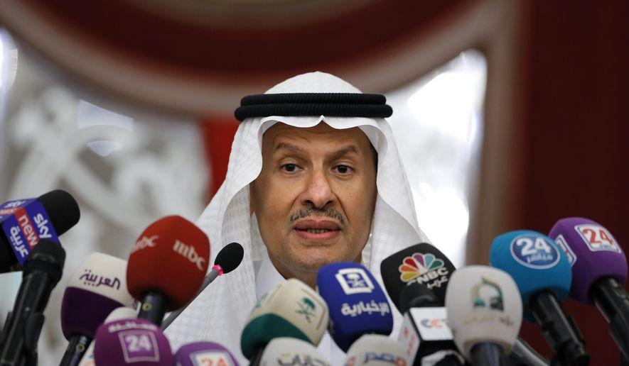 Saudi Energy Minister Prince Abdulaziz bin Salman, speaks during a press conference in Jiddah, Saudi Arabia, Tuesday, Sept. 17, 2019. (AP Photo/Amr Nabil)