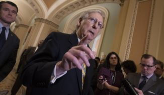 Senate Majority Leader Mitch McConnell, R-Ky., joined at left by Sen. Todd Young, R-Ind., speaks to reporters during a news conference at the Capitol in Washington, Tuesday, Sept. 17, 2019. (AP Photo/J. Scott Applewhite)