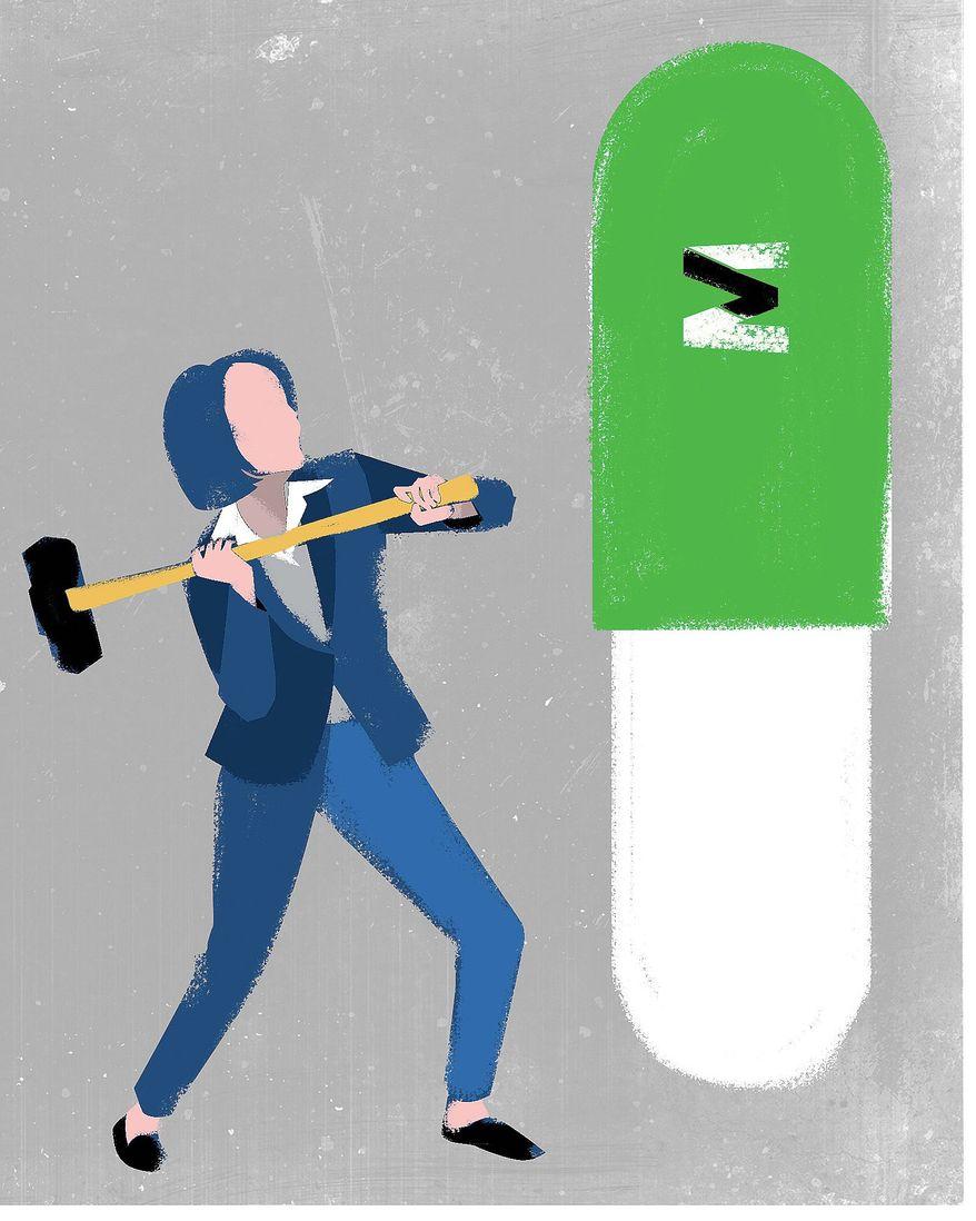 Illustration on the Pelosi drug plan by Linas Garsys/The Washington Times