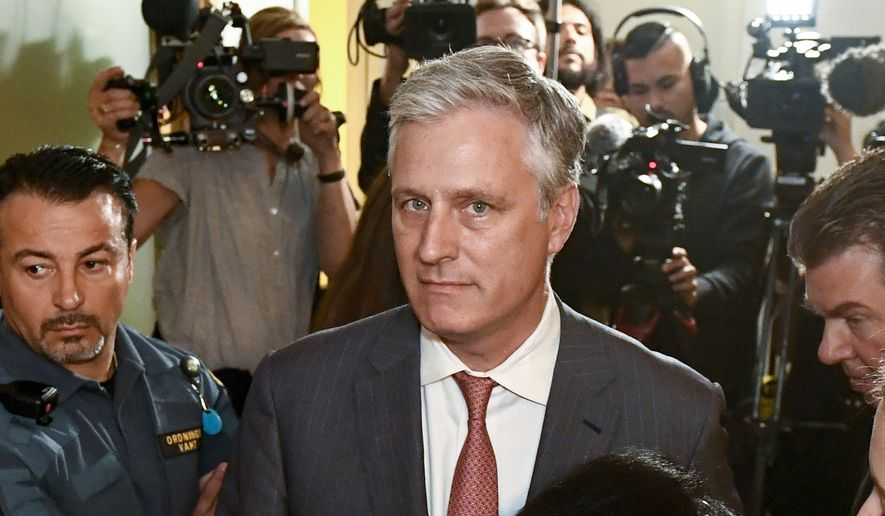 In this July 30, 2019, file photo, Robert O'Brien, U.S. Special Envoy Ambassador, arrives at the district court where U.S. rapper A$AP Rocky is to appear on charges of assault, in Stockholm, Sweden. President Donald Trump says he plans to name O'Brien to be his new national security adviser. (Erik Simander/TT via AP)