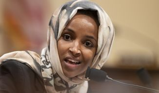 "House Subcommittee on Intelligence and Counterterrorism member Rep. Ilhan Omar, D-Minn., speaks during a hearing on ""meeting the challenge of white nationalist terrorism at home and abroad"" on Capitol Hill in Washington, Wednesday, Sept. 18, 2019. (AP Photo/Manuel Balce Ceneta)"