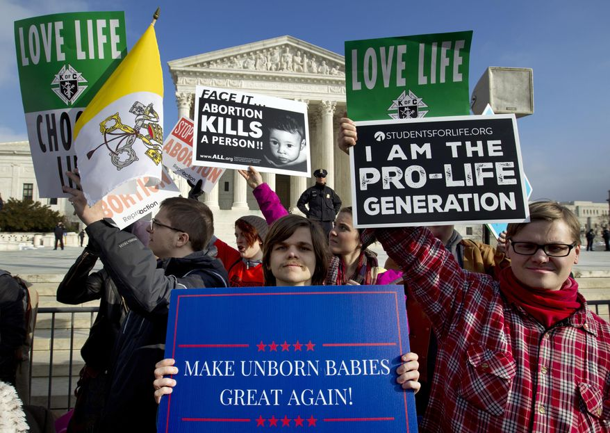 In this Jan. 18, 2019, file photo, anti-abortion activists protest outside of the U.S. Supreme Court, during the March for Life in Washington. The number and rate of abortions across the United States have plunged to their lowest levels since the procedure became legal nationwide in 1973, according to new figures released Wednesday, Sept. 18.  (AP Photo/Jose Luis Magana, File)
