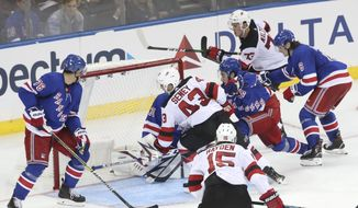 New Jersey Devils left wing Brett Seney (43) scores a goal against the New York Rangers during the third period of a preseason NHL hockey game Wednesday, Sept. 18, 2019, at Madison Square Garden in New York. (AP Photo/Mary Altaffer)