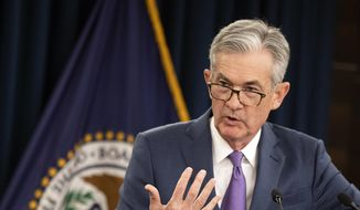 In this July 31, 2019, file photo Federal Reserve Chairman Jerome Powell speaks during a news conference following a two-day Federal Open Market Committee meeting in Washington. (AP Photo/Manuel Balce Ceneta, File)