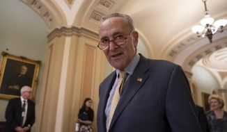Senate Minority Leader Chuck Schumer, D-N.Y., arrives to speak to reporters at a news conference at the Capitol in Washington, Tuesday, Sept. 17, 2019. (AP Photo/J. Scott Applewhite) ** FILE **