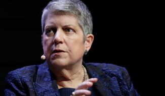 FILE - This March 7, 2018 file photo shows University of California President Janet Napolitano at a meeting of The Commonwealth Club in San Francisco. At a meeting of the UC regents at UCLA Wednesday, Sept. 18, 2019, Napolitano announced that she will be resigning the presidency, effective in 2020. (AP Photo/Marcio Jose Sanchez, File)