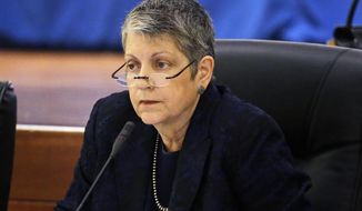 FILE - In this May 18, 2017 file photo University of California President Janet Napolitano attends a meeting of the UC Board of Regents in San Francisco.  Napolitano has announced she plans to step down in August 2020. The former U.S. secretary of homeland security and Democratic governor of Arizona made the announcement Wednesday, Sept. 18, 2019, at a meeting of the university's Board of Regents.  (AP Photo/Eric Risberg, File)