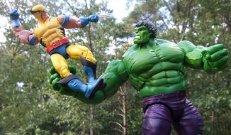 Hasbro's Marvel Legends 80th Anniversary collection includes Wolverines first fight with the Incredible Hulk. (Photograph by Joseph Szadkowski / The Washington Times)