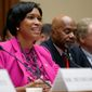 """We have no voice. We have no one to call to speak for us, yet we pay more in taxes per capita than any state, yet we pay more taxes than 22 states. This Congress has the constitutional authority, the full conditional power to correct this problem of our democracy,"" said District of Columbia Mayor Muriel Bowser (left.) (ASSOCIATED PRESS PHOTOGRAPHS)"