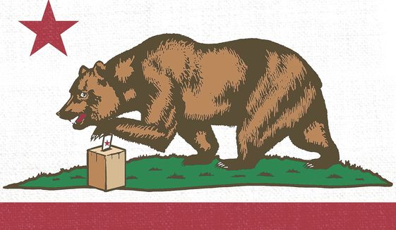 Illustration on the California vote by Linas Garsys/The Washington Times
